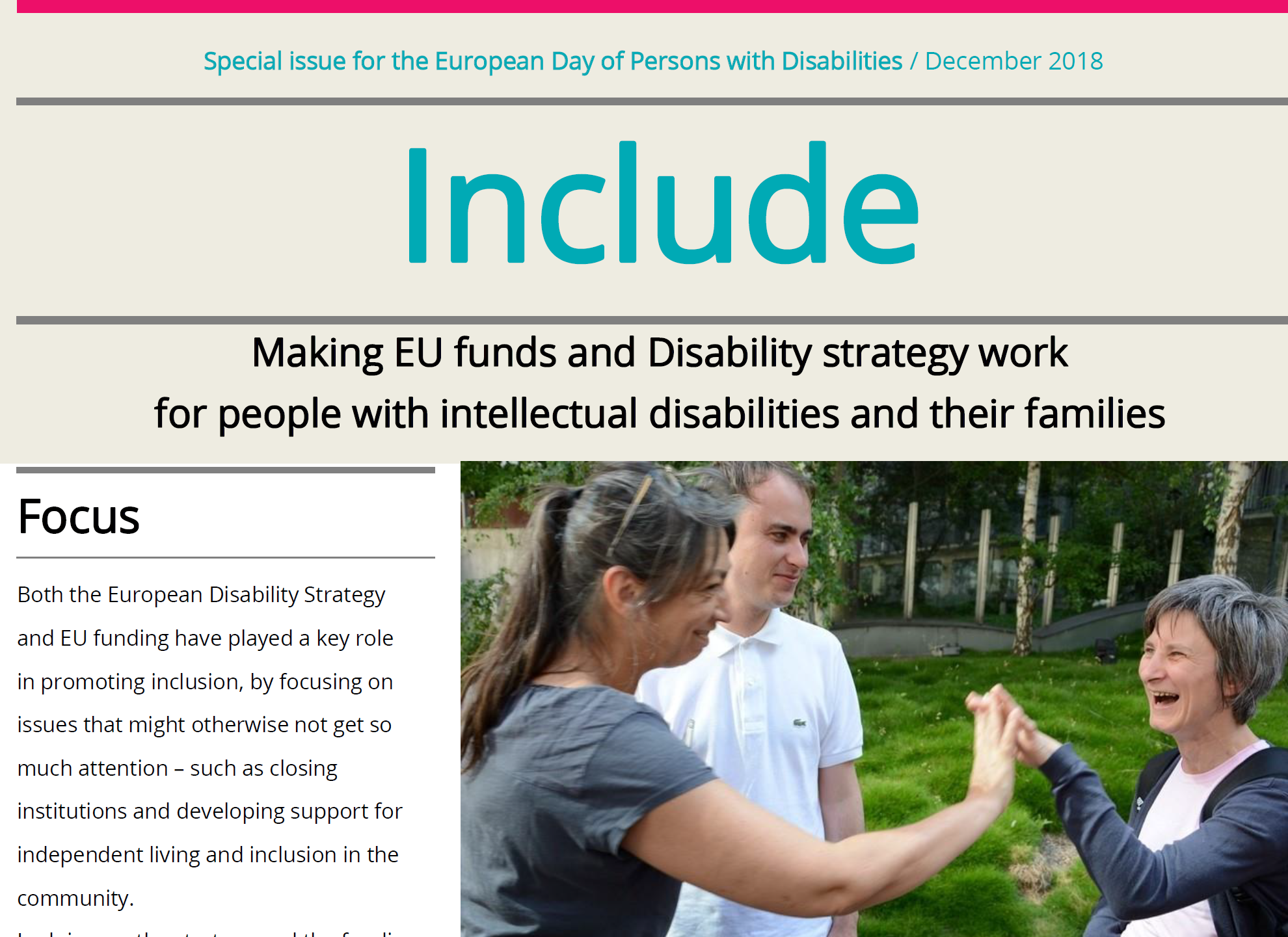 Include – special issue for the European Day of Persons with Disabilities 2018 conference